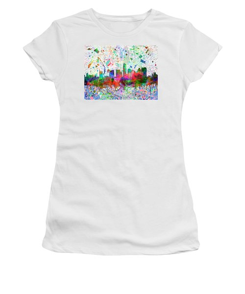 Austin Texas Abstract Panorama 7 Women's T-Shirt (Athletic Fit)