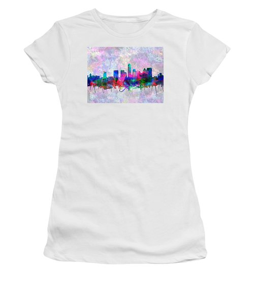 Austin Texas Skyline Watercolor 2 Women's T-Shirt (Athletic Fit)