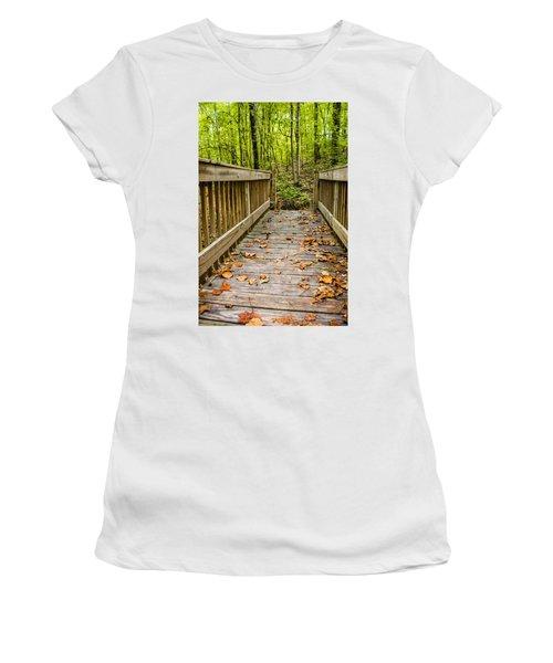 Autumn On The Bridge Women's T-Shirt (Athletic Fit)