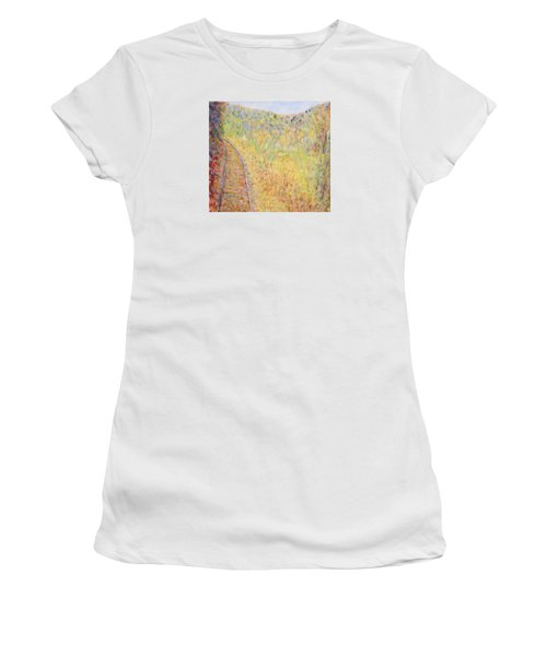 Autumns Maple Leaves And Train Tracks Women's T-Shirt (Athletic Fit)