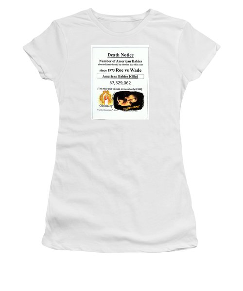 Babies Aborted Murdered Since Roe Vs Wade 1 Death Notice Obituary Women's T-Shirt (Athletic Fit)