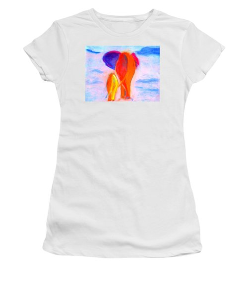 Baby Elephant And Mom Women's T-Shirt (Athletic Fit)