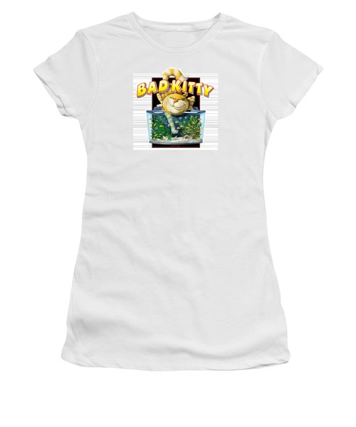 Bad Kitty Women's T-Shirt (Junior Cut) by Scott Ross