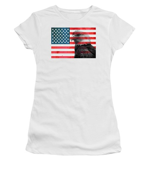 Women's T-Shirt featuring the mixed media Bald Eagle American Flag by Dan Sproul