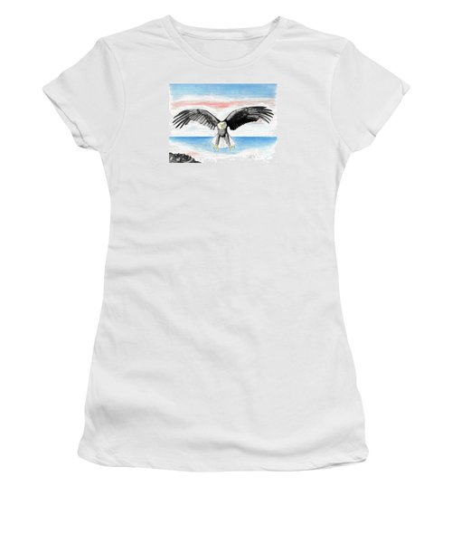 Women's T-Shirt (Junior Cut) featuring the drawing Bald Eagle by David Jackson