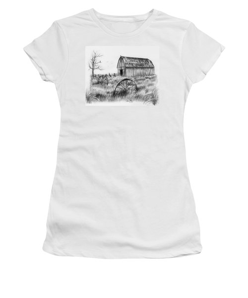 Barn With Crows Women's T-Shirt (Junior Cut) by Lena Auxier