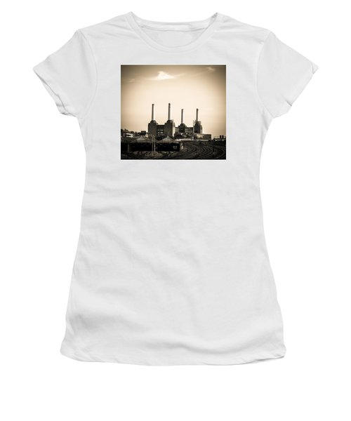 Battersea Power Station With Train Tracks Women's T-Shirt