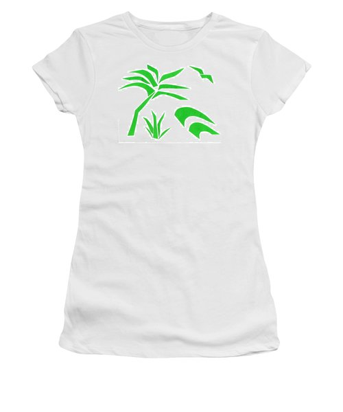 Women's T-Shirt (Junior Cut) featuring the mixed media Beach by Delin Colon