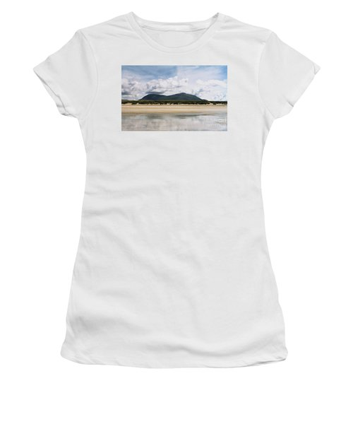 Women's T-Shirt (Athletic Fit) featuring the photograph Beach Sky And Mountains by Rebecca Harman