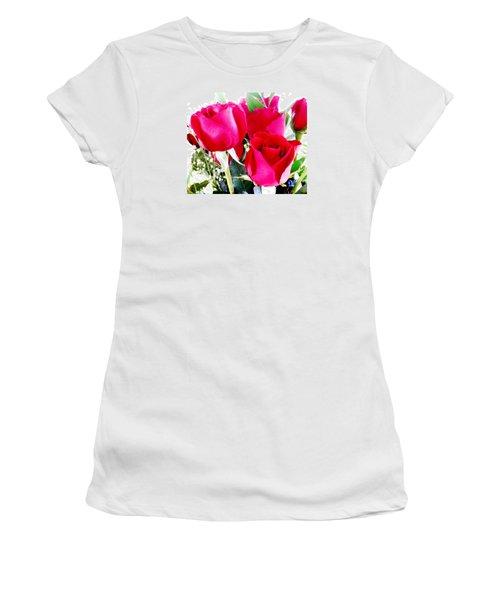 Beautiful Neon Red Roses Women's T-Shirt (Junior Cut) by Belinda Lee