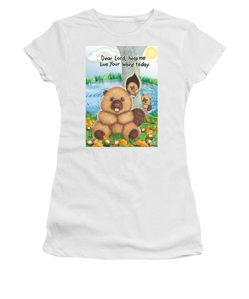 Beaver Women's T-Shirt (Junior Cut) by Jerry Ruffin