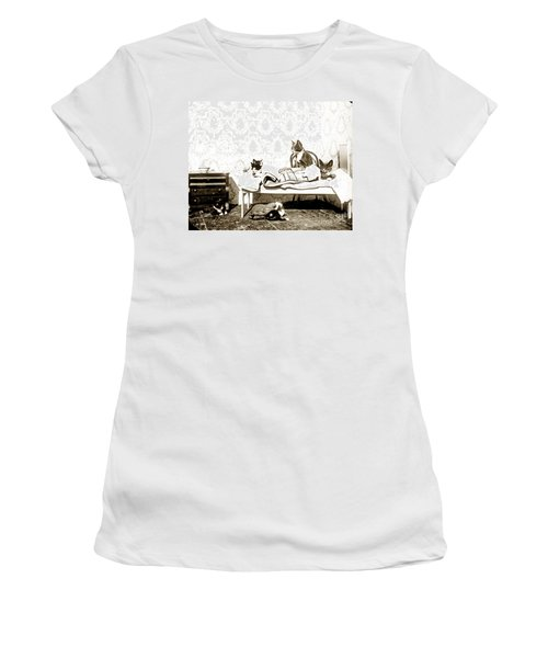 Women's T-Shirt (Junior Cut) featuring the photograph Bed Time For Kitty Cats Histrica Photo Circa 1900 by California Views Mr Pat Hathaway Archives