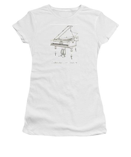 Beethoven's Broadwood Grand  Piano Women's T-Shirt (Junior Cut) by Ira Shander