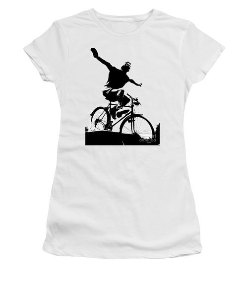 Bicycle - Black And White Pixels Women's T-Shirt (Athletic Fit)