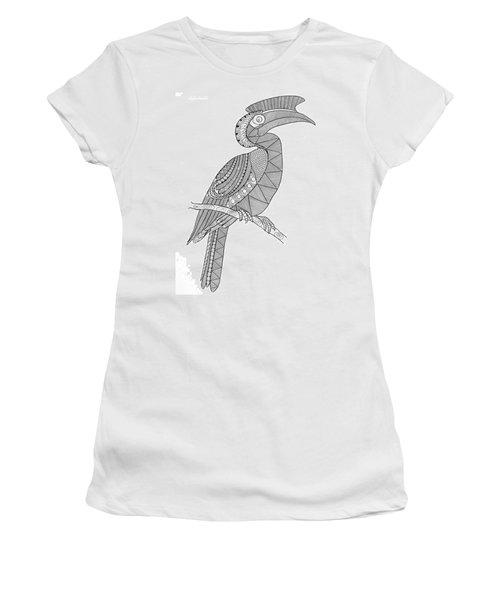 Bird Hornbill Women's T-Shirt (Junior Cut) by Neeti Goswami