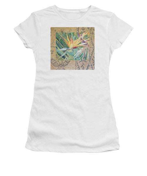 Bird Of Paradise With Tapa Cloth Women's T-Shirt (Athletic Fit)