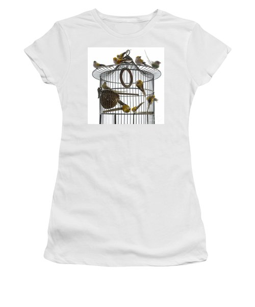 Birds Inside And Outside A Cage Women's T-Shirt (Athletic Fit)