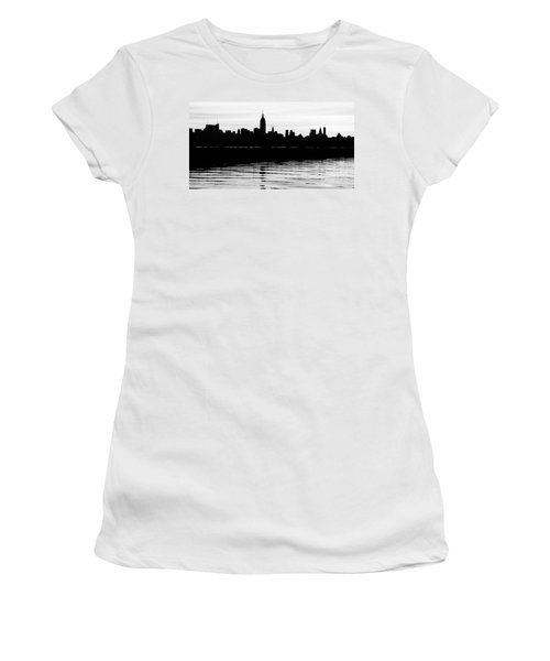 Women's T-Shirt (Junior Cut) featuring the photograph Black And White Nyc Morning Reflections by Lilliana Mendez