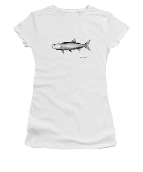 Black And White Tarpon Women's T-Shirt (Junior Cut) by Steve Ozment