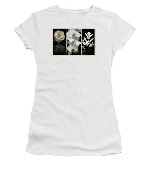 Black And White Triptych Women's T-Shirt (Junior Cut) by Judy Vincent