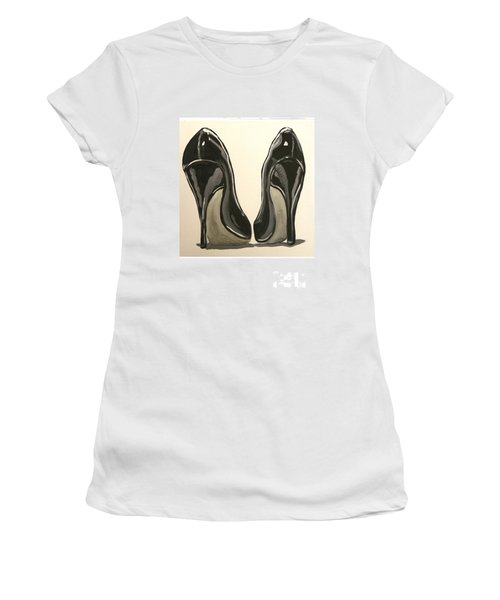 Women's T-Shirt (Junior Cut) featuring the painting Black Pumps by Marisela Mungia