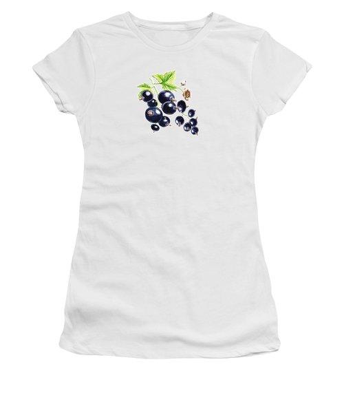 Women's T-Shirt (Junior Cut) featuring the painting Blackcurrant Berries  by Irina Sztukowski