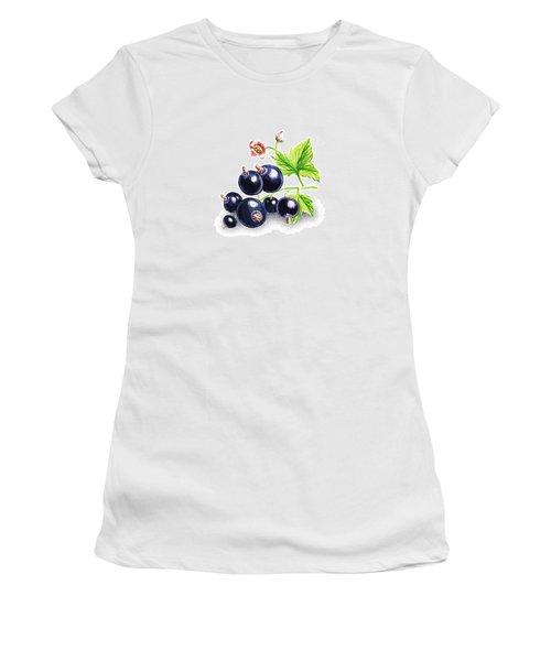 Women's T-Shirt (Junior Cut) featuring the painting Blackcurrant Still Life by Irina Sztukowski