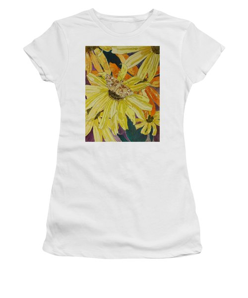 Blackeyed Susans And Butterfly Women's T-Shirt (Athletic Fit)