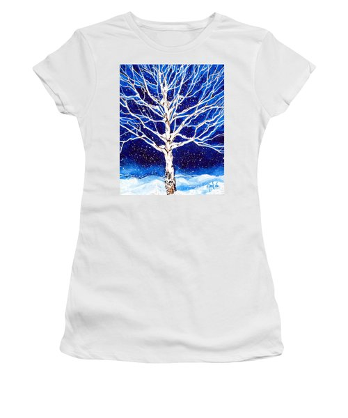 Women's T-Shirt (Junior Cut) featuring the painting Blanket Of Stillness by Jackie Carpenter