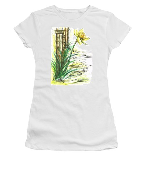 Blooming Daffodil Women's T-Shirt (Junior Cut) by Teresa White