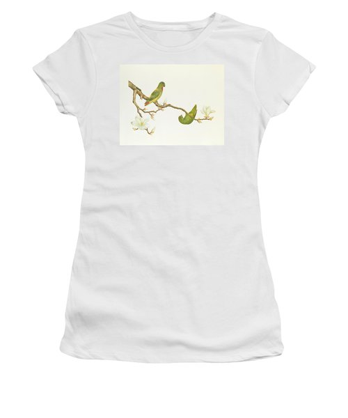 Blue Crowned Parakeet Hannging On A Magnolia Branch Women's T-Shirt (Athletic Fit)