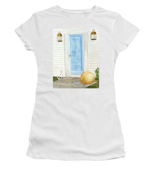 Blue Door With Pumpkin Women's T-Shirt (Athletic Fit)