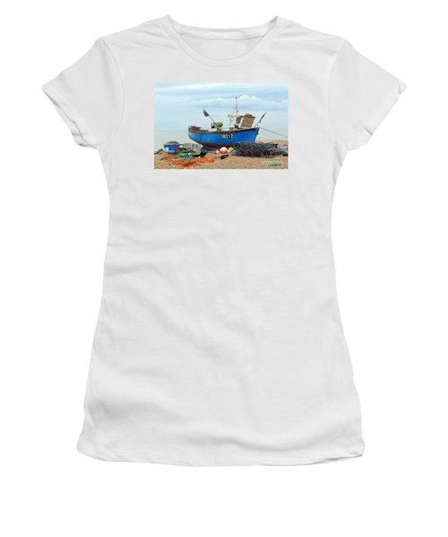 Blue Fishing Boat Women's T-Shirt