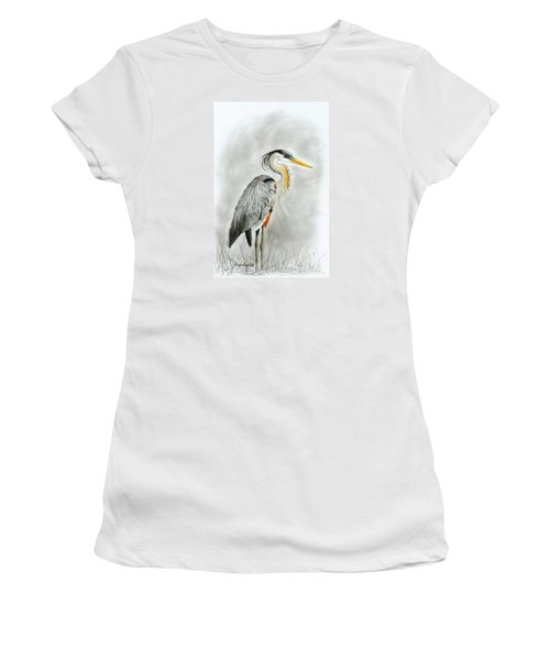 Women's T-Shirt featuring the drawing Blue Heron 3 by Phyllis Howard