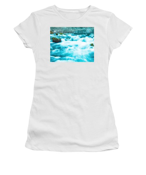 Women's T-Shirt (Junior Cut) featuring the photograph Blue Lagoon by Steven Bateson