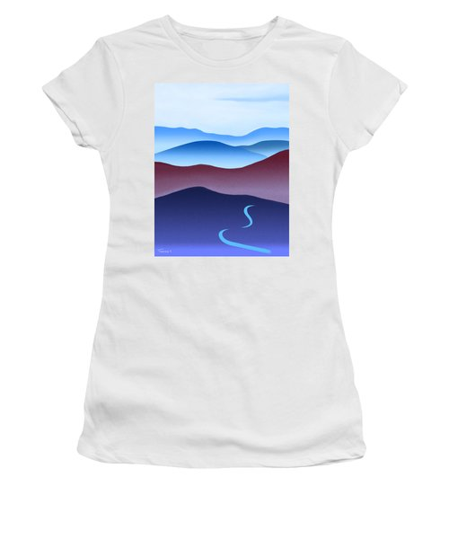 Blue Ridge Blue Road Women's T-Shirt (Junior Cut) by Catherine Twomey