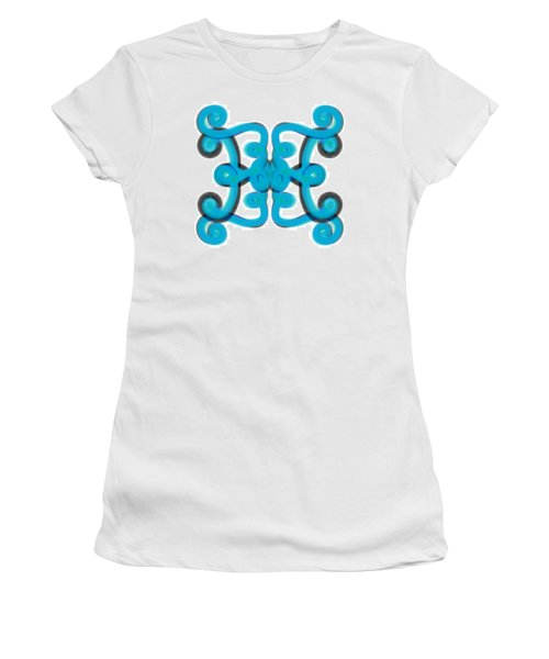 Women's T-Shirt (Junior Cut) featuring the digital art Blue Scroll Square by Christine Fournier