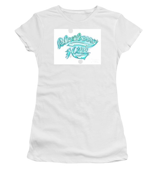 Blueberry Hill Inverted In Neon Blue Women's T-Shirt (Junior Cut) by Kelly Awad