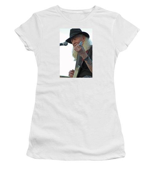Bluesman Johnny Winter Women's T-Shirt (Junior Cut) by Mike Martin