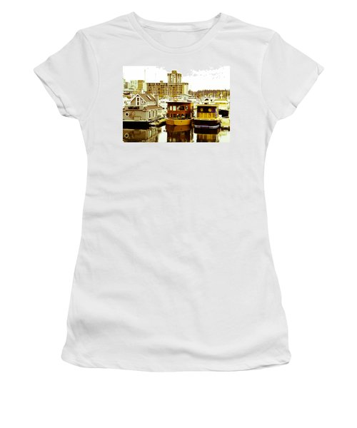 Women's T-Shirt (Junior Cut) featuring the photograph Boathouses by Eti Reid