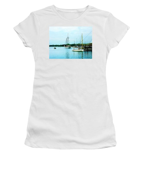 Women's T-Shirt (Junior Cut) featuring the photograph Boats On A Calm Sea by Susan Savad