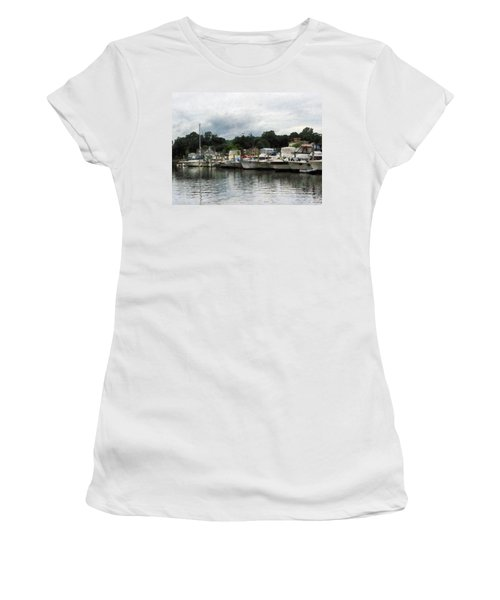 Women's T-Shirt (Junior Cut) featuring the photograph Boats On A Cloudy Day Essex Ct by Susan Savad
