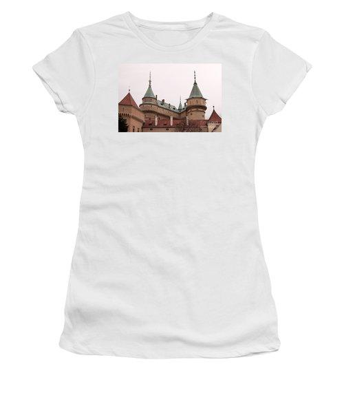 Women's T-Shirt (Junior Cut) featuring the photograph Bojnice Castle by Les Palenik