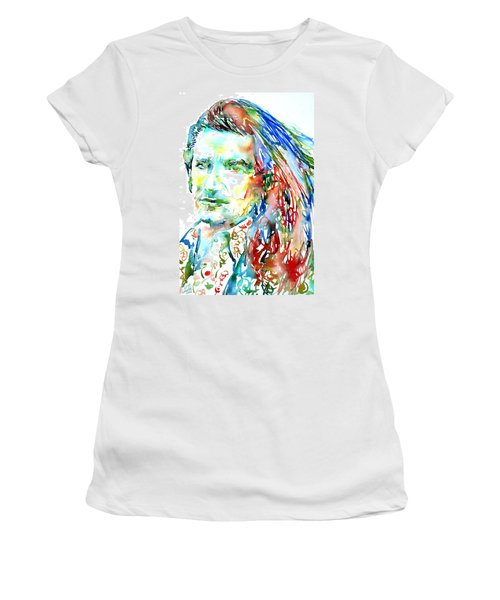 Bono Watercolor Portrait.2 Women's T-Shirt (Athletic Fit)