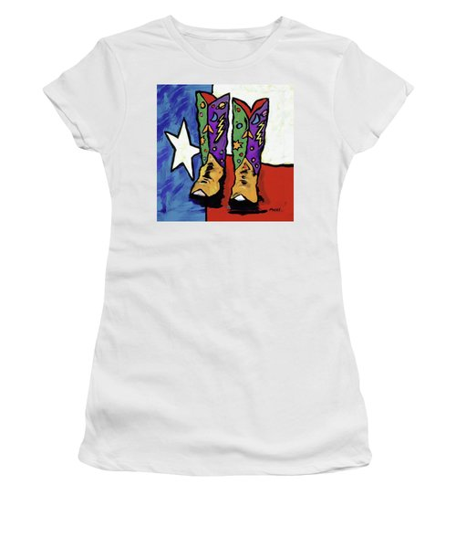 Boots On A Texas Flag Women's T-Shirt