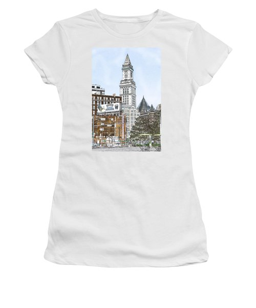 Boston Custom House Tower Women's T-Shirt (Junior Cut) by Fred Larson