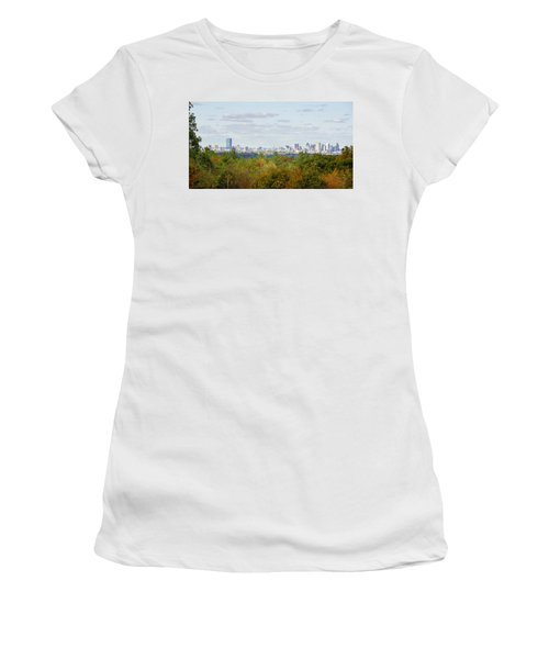 Boston Skyline In Autumn Women's T-Shirt