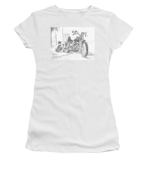 Boy And Motorcycle Women's T-Shirt (Athletic Fit)