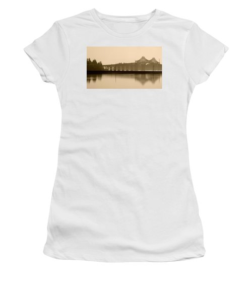 Bridge Reflection In Sepia Women's T-Shirt (Athletic Fit)