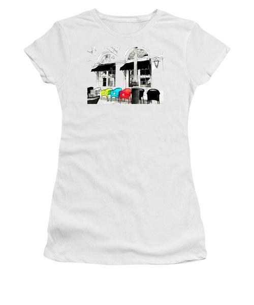 Women's T-Shirt (Junior Cut) featuring the photograph Bright Bistro by Kathy Bassett